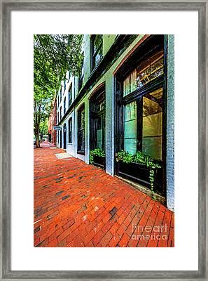 Storefronts With Flower Boxes In Shockoe Slip 7206vtvg1 Framed Print