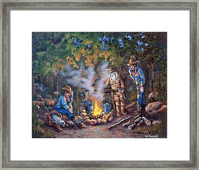 Stories Around The Fire Framed Print by Julie Townsend