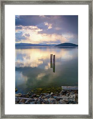 Storm Across The Bay Framed Print by Idaho Scenic Images Linda Lantzy