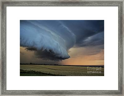 Storm Approaching Cape Tryon Lighthouse Framed Print by Edward Fielding