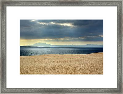 Storm At African Mountains From The Dune Framed Print