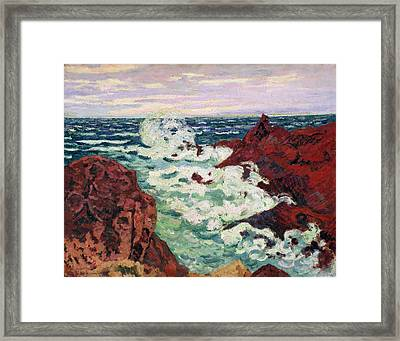 Storm At Agay Framed Print by Jean Baptiste Armand Guillaumin