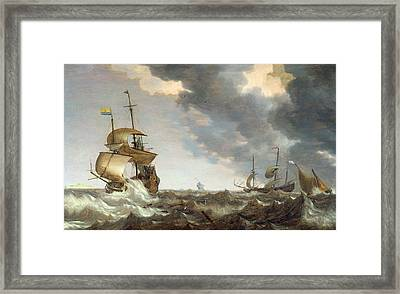 Storm At Sea Framed Print by Bonaventura Peeters
