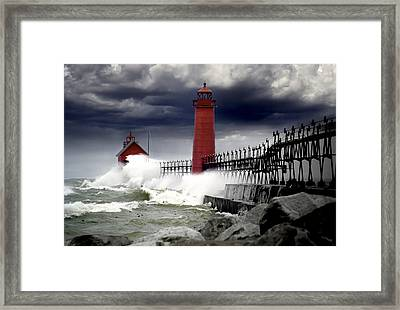 Storm At The Grand Haven Lighthouse Framed Print