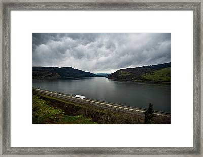 Storm Brewing On The Columbia Framed Print