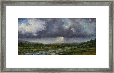Storm Brewing Over The Refuge Framed Print