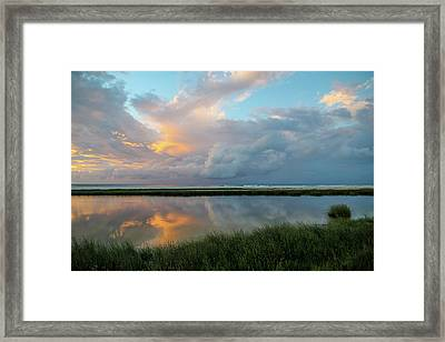 Storm Cloud Reflections At Sunset Framed Print