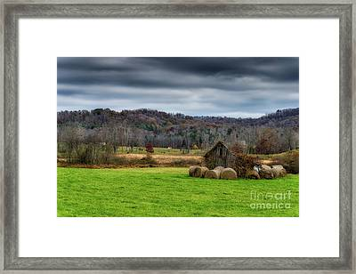 Storm Clouds And Hay Bales Framed Print by Thomas R Fletcher