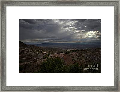 Framed Print featuring the photograph Storm Clouds And Suns Rays Jerome Az by Ron Chilston