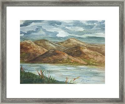 Framed Print featuring the painting Storm Clouds by Ellen Levinson