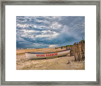 Storm Clouds In Stone Harbor Framed Print