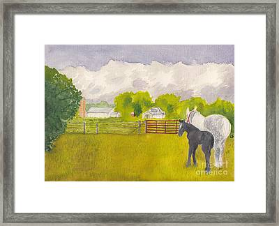 Storm Clouds Mare And Colt At Sunrise Framed Print