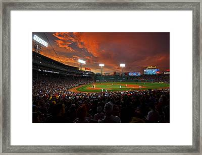 Storm Clouds Over Fenway Park Framed Print by Toby McGuire