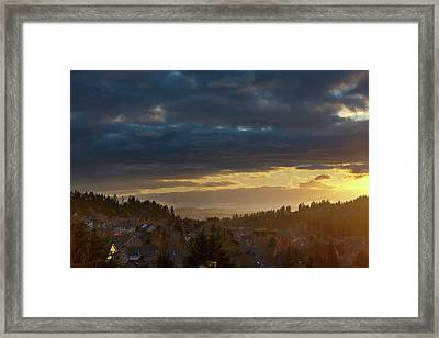 Storm Clouds Over Happy Valley During Sunset Framed Print by David Gn