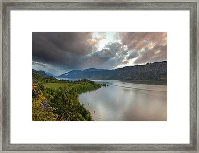 Storm Clouds Over Hood River Framed Print by David Gn