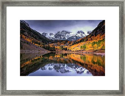 Storm Clouds Over Maroon Bells Framed Print