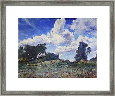 Storm Clouds Over Monte Cardeto Lazio Italy 2009 Framed Print by Enver Larney