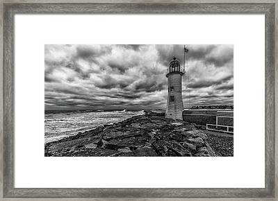 Storm Clouds Over Old Scituate Lighthouse In Black And White Framed Print