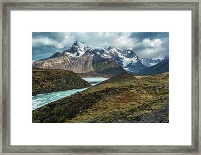 Framed Print featuring the photograph Storm Clouds Over The Cuernos by Stuart Gordon