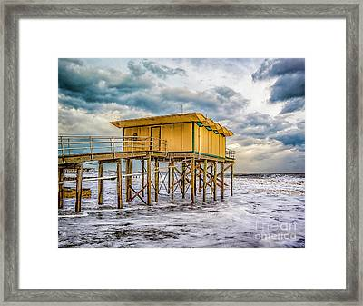 Framed Print featuring the photograph Storm Clouds Over The Ocean by Nick Zelinsky