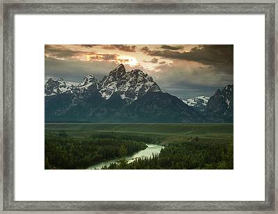 Storm Clouds Over The Tetons Framed Print