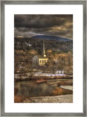 Storm Clouds Over White Church - Stowe Vermont Framed Print