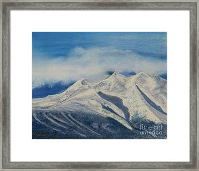 Storm Clouds Over Winter Mountain Blues Framed Print