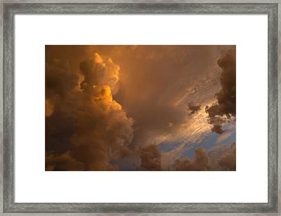 Storm Clouds Sunset - Dramatic Oranges Framed Print by Georgia Mizuleva
