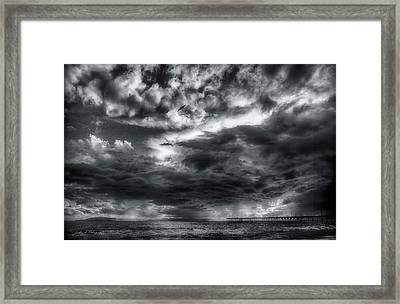 Framed Print featuring the photograph Storm Clouds Ventura Ca Pier by John A Rodriguez