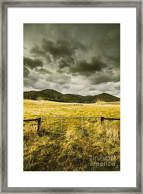 Storm Covered Winter Farmland Framed Print by Jorgo Photography - Wall Art Gallery
