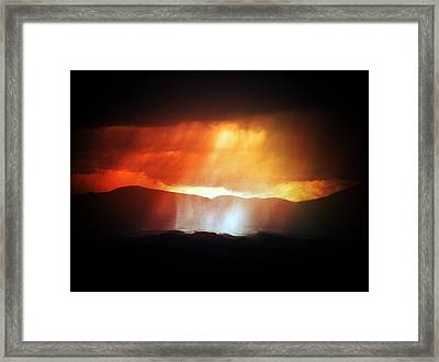 Storm Glow Night Over Santa Fe Mountains Framed Print