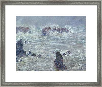 Storm Off The Coast Of Belle Ile Framed Print by Claude Monet
