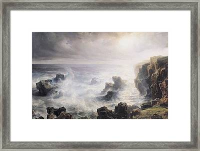 Storm Off The Coast Of Belle Ile Framed Print by Jean Antoine Theodore Gudin