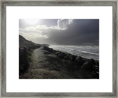 Storm On Strandhill Framed Print by Amy Williams
