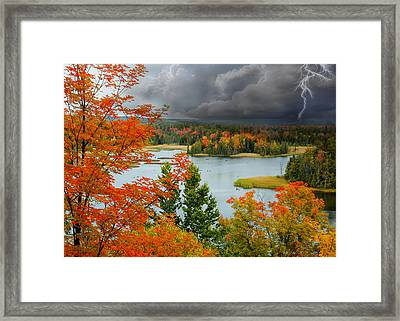 Storm Over Ausable River Framed Print