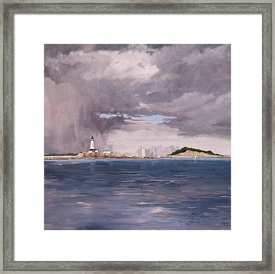 Storm Over Boston Framed Print