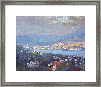 Storm Over Dilesi And Evia Island  Framed Print