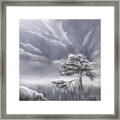 Storm Over Hayfield- Navy And Gray Art- Hayfield Art Framed Print by Lourry Legarde
