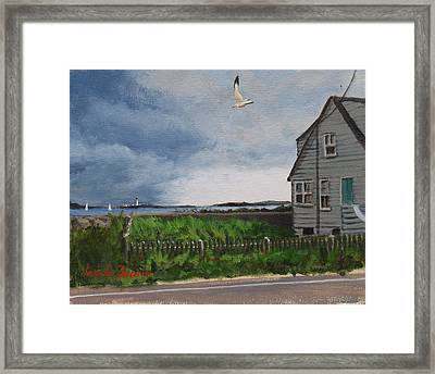 Storm Over Hull Framed Print by Laura Lee Zanghetti