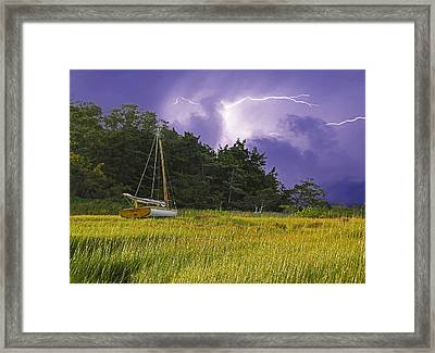 Storm Over Knott's Island Framed Print by Charles Harden