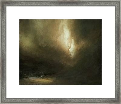 Storm Over Lake Framed Print by Lonnie Christopher