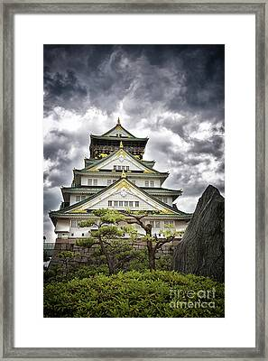 Storm Over Osaka Castle Framed Print by Jane Rix