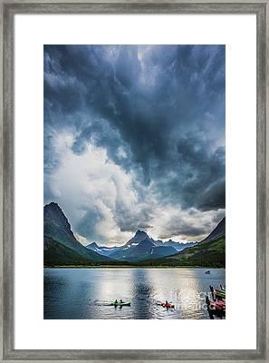 Storm Over Swiftcurrent Lake Framed Print
