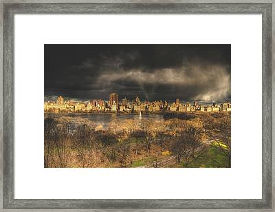 Storm Over The Park Framed Print by Ariane Moshayedi