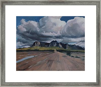 Storm Over The Superstitions Framed Print