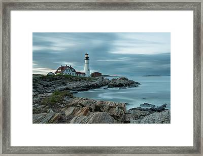 Storm Passing At Portland Head Light Framed Print