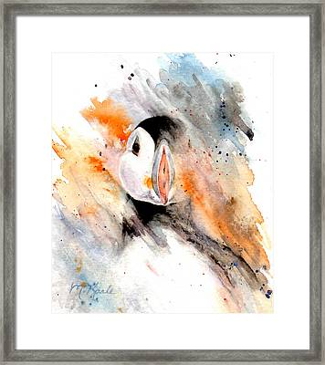 Storm Puffin Framed Print