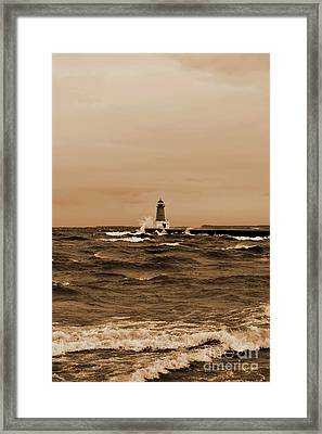 Storm Sandy Effects Menominee Lighthouse Sepia Framed Print