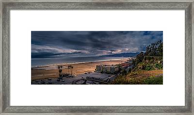 Storm Watch Over Malibu - Panarama  Framed Print