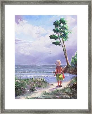 Storm Watching Framed Print by Laura Lee Zanghetti